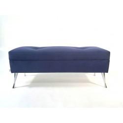 Ławka Granatowa ze schowkiem od Rossi Furniture  nogi Chrom