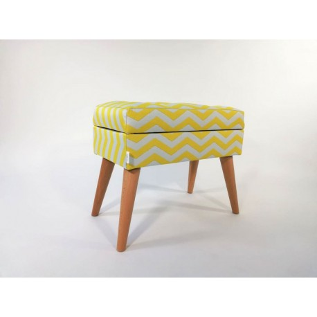 Podnóżek LOVARE MINI zygzak żółto - biały od Rossi Furniture