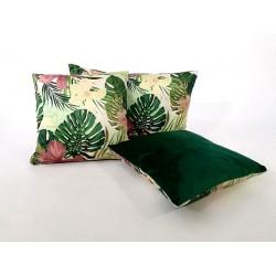 Poduszka dekoracyjna Motyw Liściasty zielona French Velvet Rossi Furniture Komlept poduszek dekoracyjnych Liście