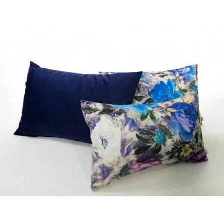 Poduszka Dekoracyjna Motyw Kwiaty Granatowa Rossi Furniture Komlept Poduszek Dekoracyjnych Kwiaty 3 Sztuki 60 X 40