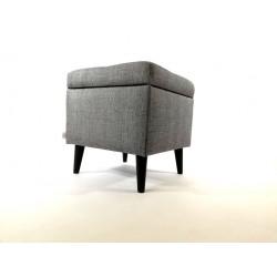 Otwierana Pufa  nóżki drewniane Rossi Furniture szara plecionka