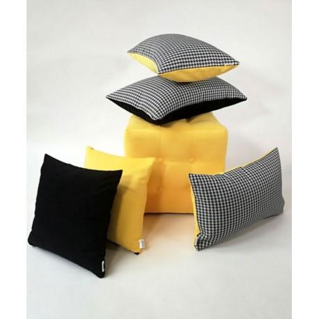 Komplet Poduszek 5  sztuki !!!! Poduszka dekoracyjna w  Pepitkę, czarna , żółta Rossi Furniture
