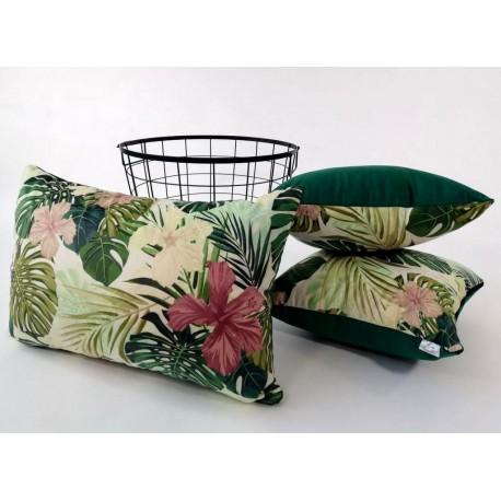 Komplet Poduszek 3 Sztuki Poduszka Dekoracyjna Motyw Liściasty Zielona French Velvet Rossi Furniture Liście